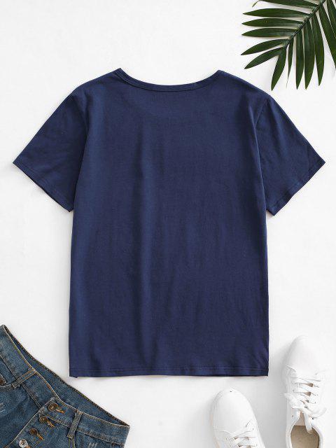 new Letter Leaf Print Cotton Short Sleeve Tee - DEEP BLUE M Mobile