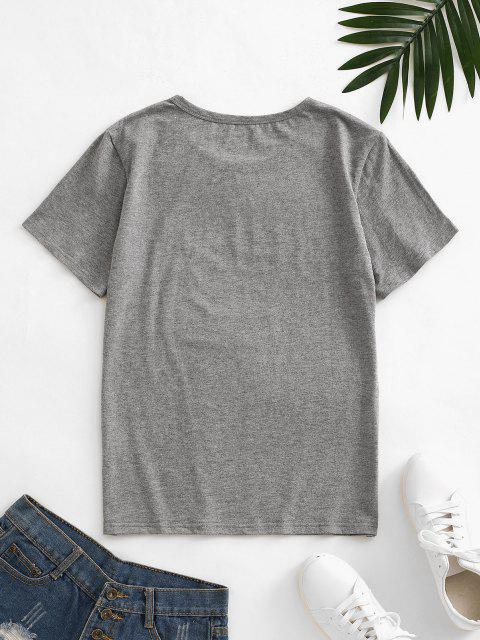 shop Letter Leaf Print Cotton Short Sleeve Tee - DARK GRAY S Mobile