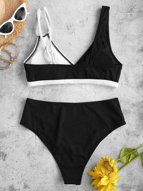 ZAFUL Maillot de Bain Bikini Plongeant Côtelé Bicolore - Noir S Mobile