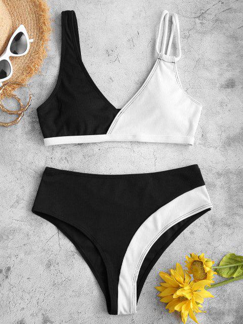 Costume da Bagno Bikini Bicolore a Costine con Scollo Profondo di ZAFUL - Nero L Mobile