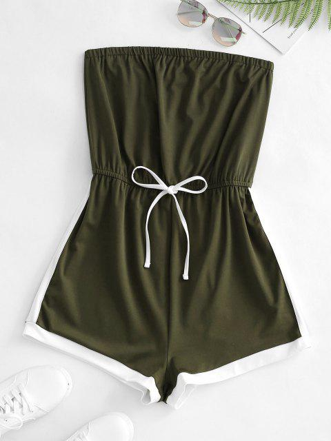 sale Colorblock Bowknot Loose Tube Romper - DEEP GREEN M Mobile