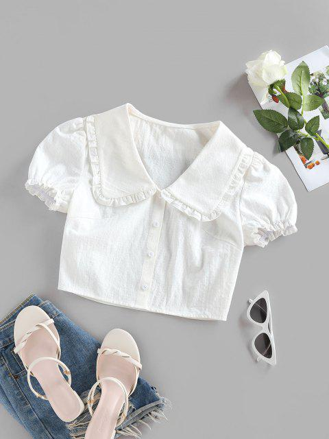 women ZAFUL Ruffle Puff Sleeve Puritan Collar Crop Blouse - WHITE S Mobile