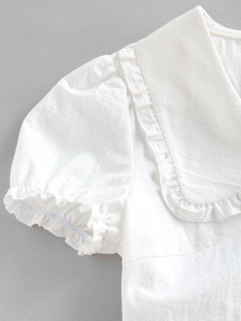 affordable ZAFUL Ruffle Puff Sleeve Puritan Collar Crop Blouse - WHITE M Mobile