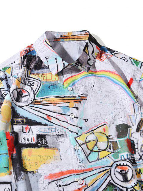 new Short Sleeve Graffiti Allover Print Shirt - MULTI L Mobile
