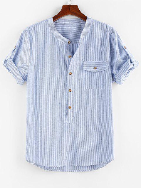 outfit ZAFUL Stripe Print Half Button Pocket Shirt - BLUE M Mobile