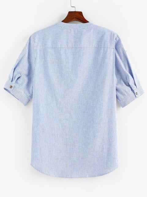 ZAFUL Hemd mit Halbem Knopf und Streifenmuster - Blau XL Mobile