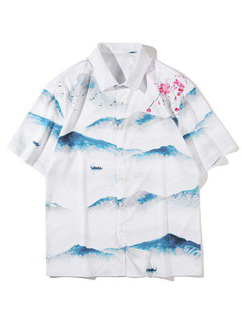 shop Mountain Floral Landscape Print Shirt - WHITE M Mobile