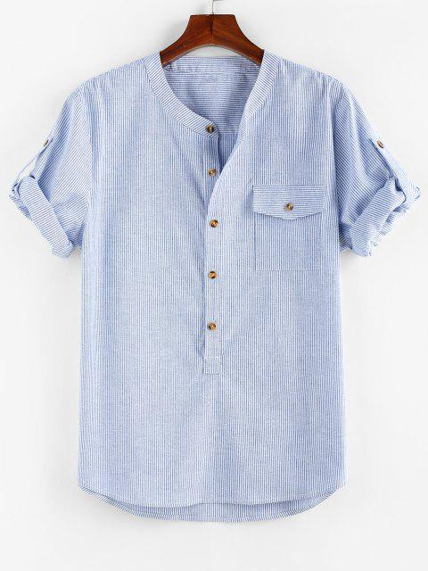 latest ZAFUL Stripe Print Half Button Pocket Shirt - BLUE S Mobile