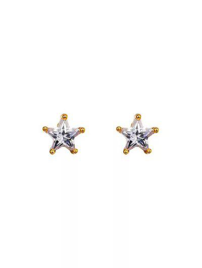 Star Shape Zircon Inlay Stud Earrings - Golden