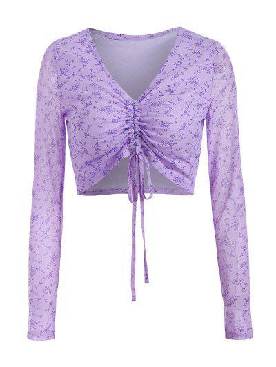 Flower Print Mesh Cinched Crop T Shirt - Light Purple M