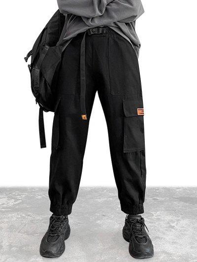 Klappe Taschen Patch Cargo Hose - Schwarz L
