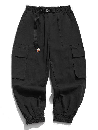 Flap Pockets Patch Cargo Pants - Black S