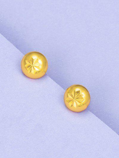 Retro Engraved Floral Stud Earrings - Golden