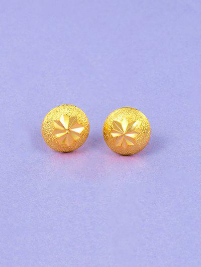Engraved Matte Button Gold Plated Earrings - Golden