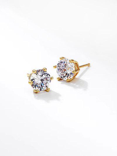 Zircon Inlay Stud Earrings - Golden