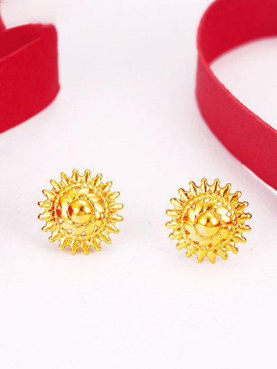 Ethnic Sun Shape Stud Earrings - Golden