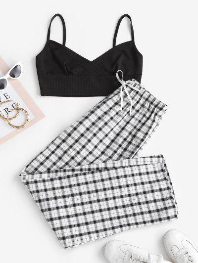 Ribbed Cami Top And Plaid Two Piece Pants Set - Black M