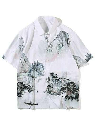 Chinese Ink Painting Landscape Print Short Sleeve Shirt - White M