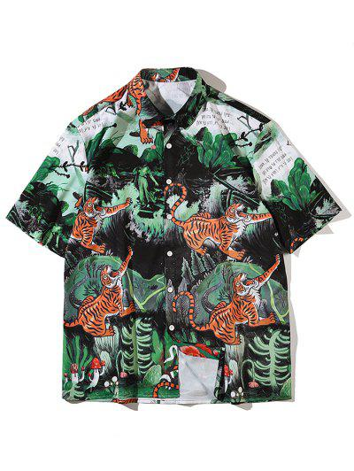 Tiger Plant Mushroom Print Vacation Shirt - Medium Sea Green L