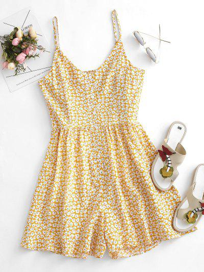 Floral Ruffle Smocked Button Placket Wide Leg Romper - Light Yellow M