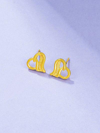 Ingenious Hollow Out Heart Shape Stud Earrings - Golden