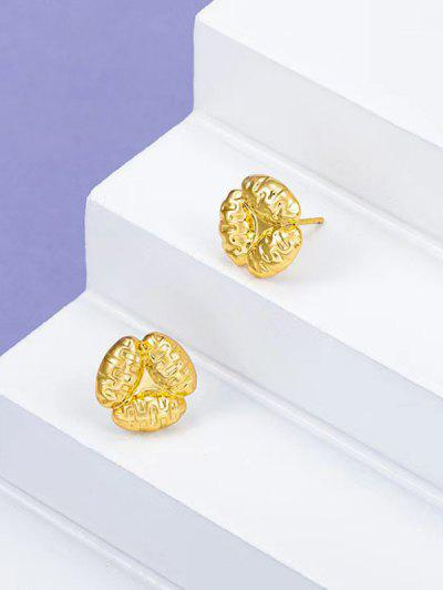 Gold Plated Floral Stud Earrings - Golden