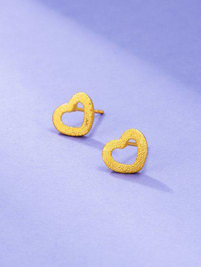Golden Textured Heart Shape Stud Earrings - Golden