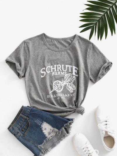 Letter Leaf Print Cotton Short Sleeve Tee - Dark Gray M