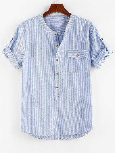 ZAFUL Stripe Print Half Button Pocket Shirt - Blue Xl