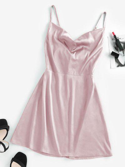 ZAFUL Back Tie Satin Cami Dress - Light Pink S