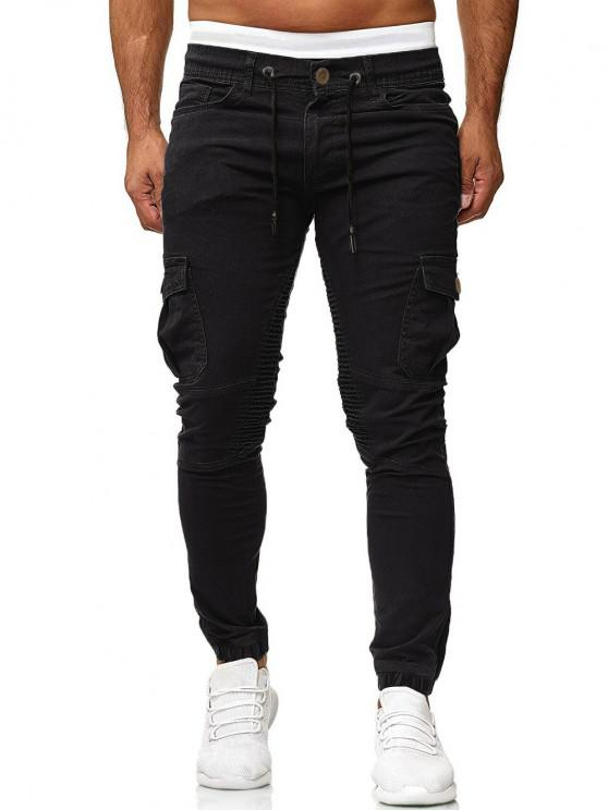 new Pleated Trim Drawstring Cargo Jogger Pants - BLACK 3XL