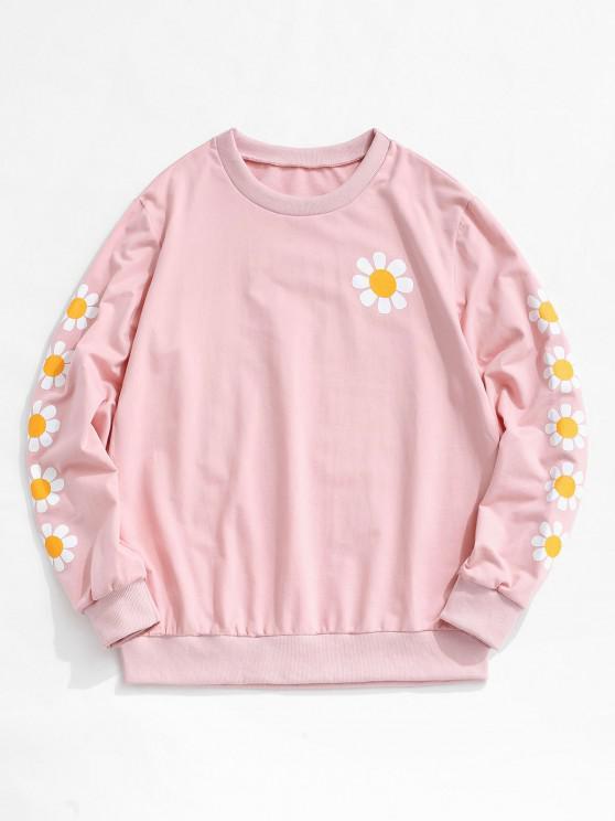 ZAFUL Daisy Print Rib-knit Trim Sweatshirt - وردي فاتح L