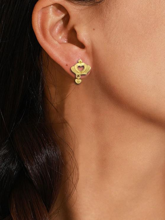 Crown Hollow Heart Stud Earrings - ذهبي