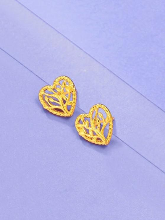 online Hollow Tree Heart Shape Earrings - GOLDEN