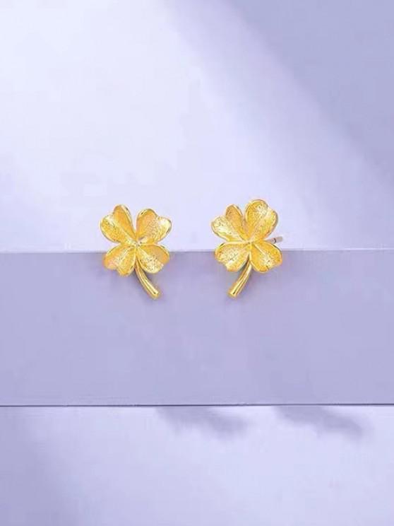Boucles D'Oreilles Clous en Forme de Trèfle en Or Plaqué - d'or