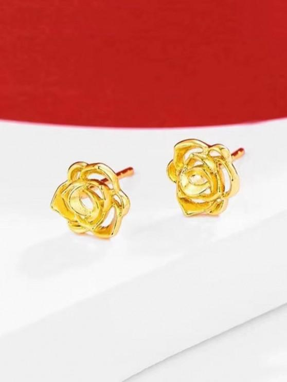 hot Hollow Flower Gold Plated Earrings - GOLDEN