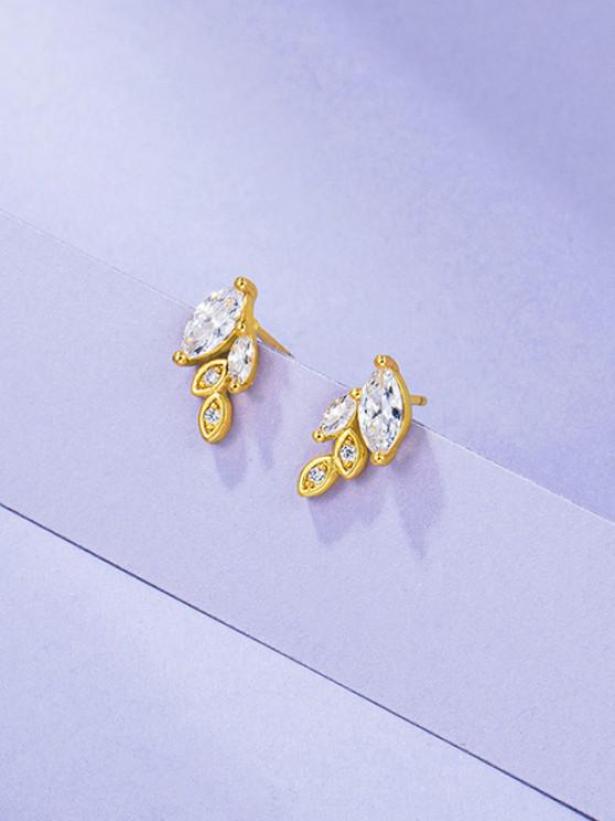 shop Leaves Rhinestone Gold Plated Earrings - GOLDEN