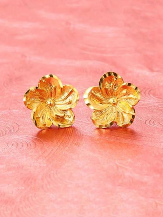 hot Flower Shape Gold Plated Stud Earrings - GOLDEN