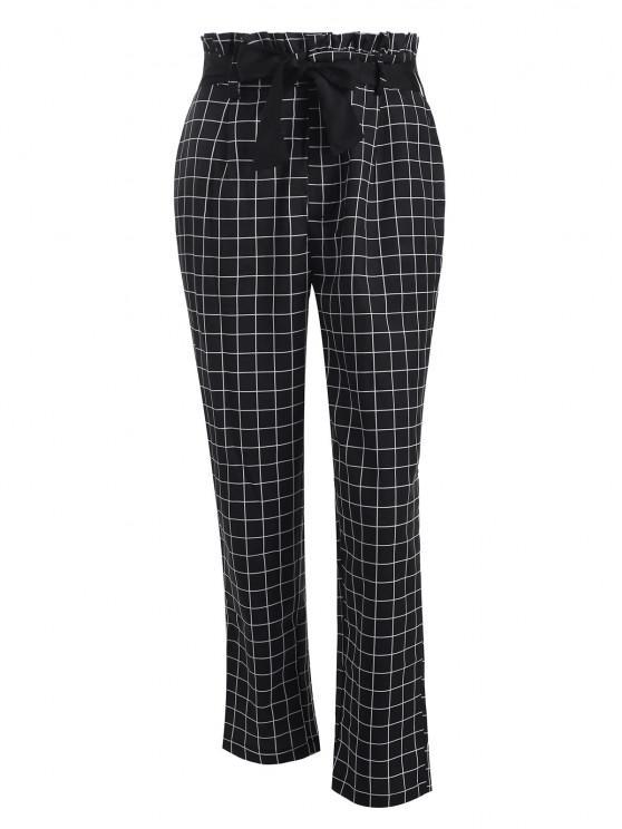 women's Grid Paperbag Waist Straight Pants - BLACK XL