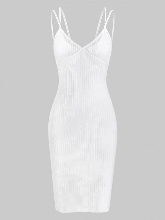 Ribbed Dual Strap Cupped Bodycon Dress - أبيض L