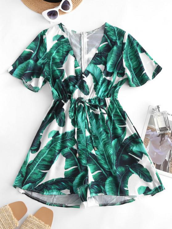 unique Palm Print Bowknot Plunging Surplice Romper - DEEP GREEN S