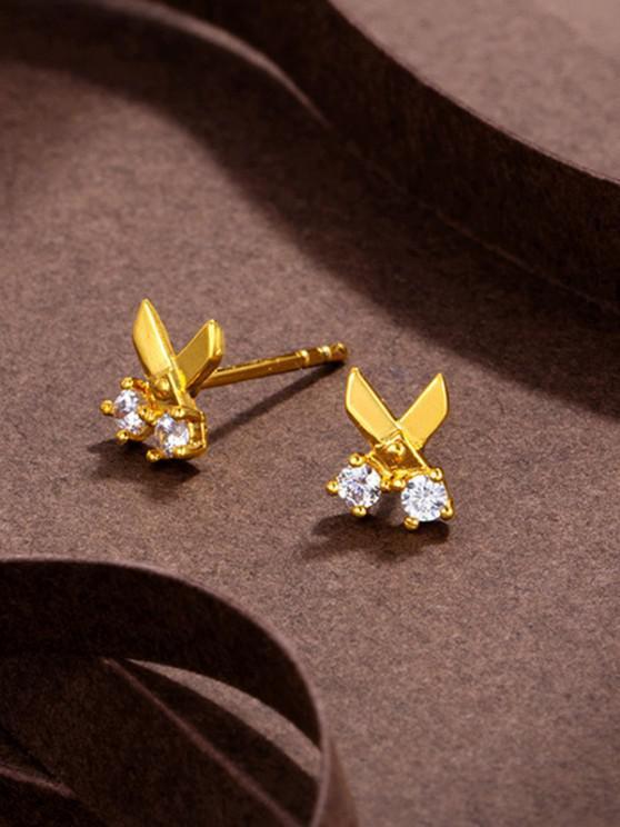 women's Scissors Shape Rhinestone Stud Earrings - GOLDEN