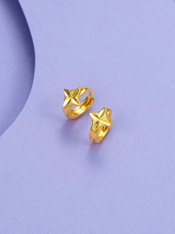 Goldene Geschnitzte Vier Punkte Stern Kleine Reifen-Ohrringe - Golden