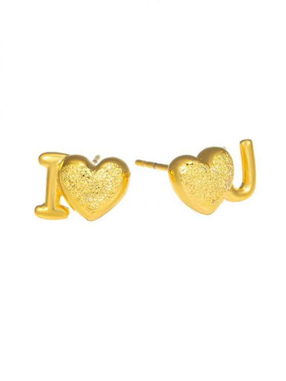 online Golden Letter Heart Shape Textured Plated Stud Earrings - GOLDEN