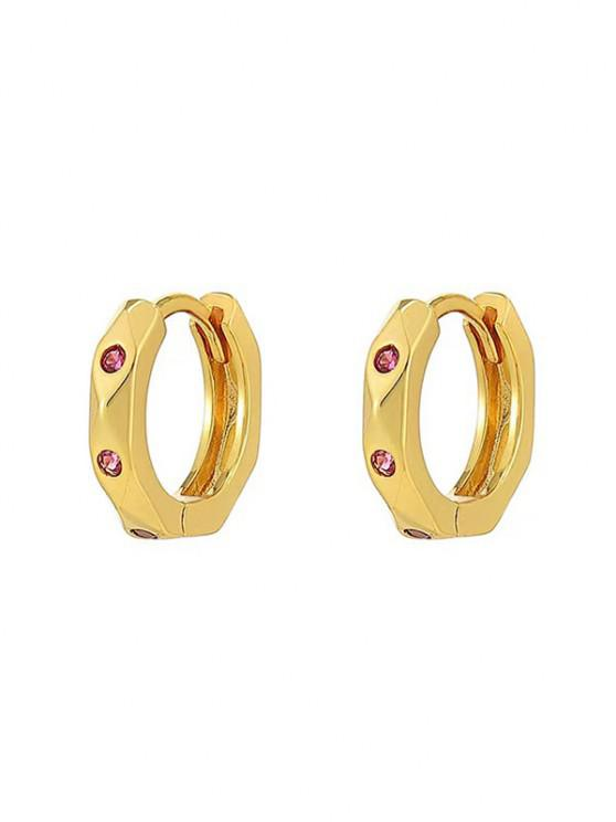 hot Zircon Inlaid Gold Plated Small Hoop Earrings - GOLDEN