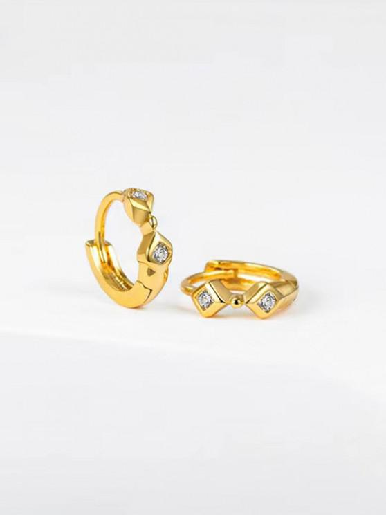 outfit Geometric Rhinestone Inlaid Small Hoop Earrings - GOLDEN