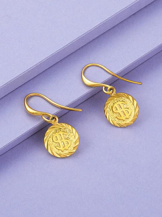 Golden Coin Pendant Drop Earrings - ذهبي