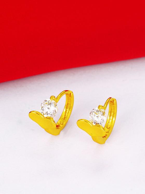 Boucles D'Oreilles Créoles Ornées de Zircon et Cœur - d'or