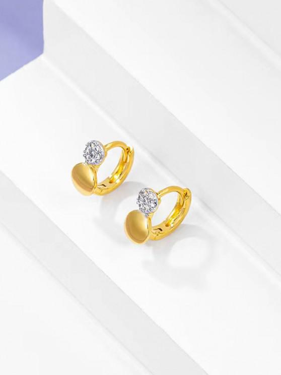 chic Rhinestone Embellished Gold-Plated Huggie Earrings - GOLDEN
