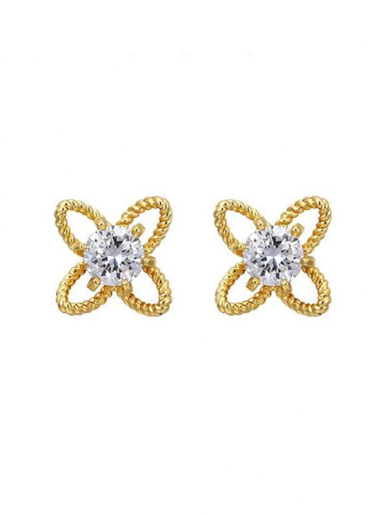 fancy Hollow Out Floral Rhinestone Stud Earrings - GOLDEN